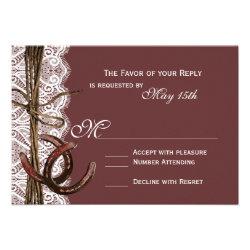 Rustic Country Horseshoe Plum Wedding RSVP Cards