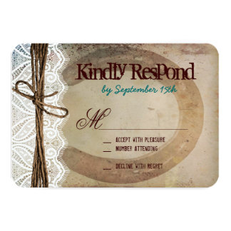 Rustic Country Horseshoe Teal Wedding RSVP Cards