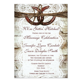Rustic Country Horseshoe Wedding Invitations Personalized Invitations