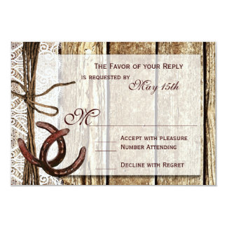 Rustic Country Horseshoe Wood Wedding RSVP Cards