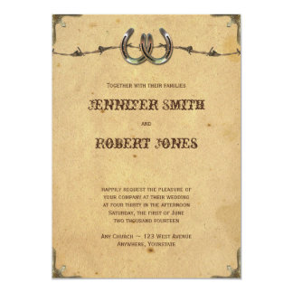 Rustic Country Horseshoes and Barbed Wire Wedding Card