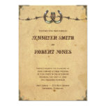 Rustic Country Horseshoes and Barbed Wire Wedding 5x7 Paper Invitation Card