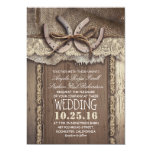 Rustic Country Horseshoes And Burlap Lace Wedding Card at Zazzle
