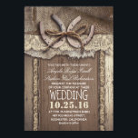 """Rustic Country Horseshoes and Burlap Lace Wedding Card<br><div class=""""desc"""">Rustic country wedding invitation features two horseshoes and: ivory lace,  old barn wood background,  burlap cloth. Perfect wedding invites for farm,  barn and village wedding with western / country style and the old horseshoe centerpiece accents.</div>"""