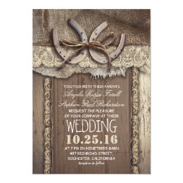 Merveilleux Rustic Country Horseshoes And Burlap Lace Wedding Card ...