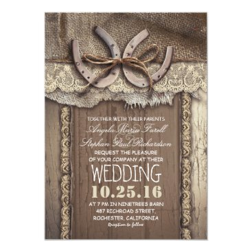 jinaiji Rustic Country Horseshoes and Burlap Lace Wedding Card