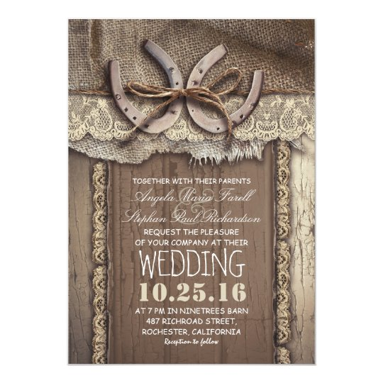 Rustic Country Horseshoes and Burlap Lace Wedding Card Zazzle