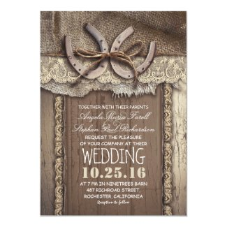 Rustic Country Horseshoes and Burlap Lace Wedding Invitation
