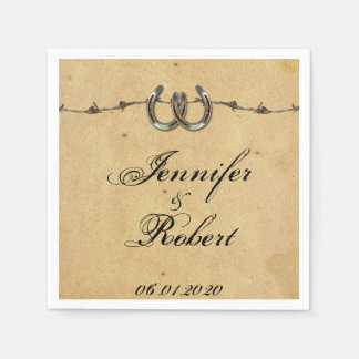 Rustic Country Horseshoes Barbed Wedding Napkin