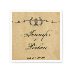 Rustic Country Horseshoes Barbed Wedding Napkin Standard Cocktail Napkin