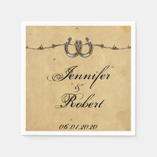 Rustic Wedding Napkins: Rustic Country Horseshoes Barbed Wedding Napkin Paper