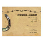 Rustic Country Horseshoes Barbed Wedding RSVP Postcard