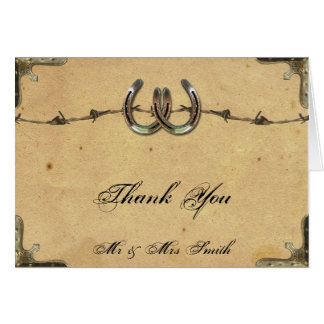 Rustic Country Horseshoes Barbed Wire Thank You Card