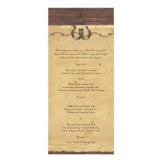 Rustic Country Horseshoes Barbed Wire Wedding Menu