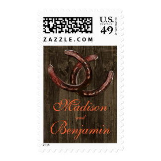 Rustic Country Horseshoes Barn Wood Wedding Stamp
