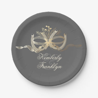 Rustic Country Horseshoes Couple Wedding Paper Plate