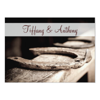 "Rustic Country Horseshoes Cowboy Wedding Invites 4.5"" X 6.25"" Invitation Card"