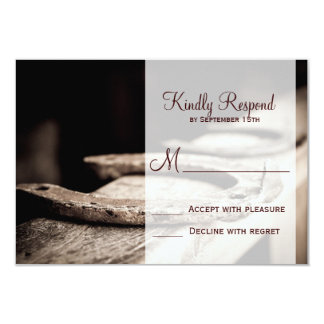 "Rustic Country Horseshoes Cowboy Wedding RSVP Card 3.5"" X 5"" Invitation Card"