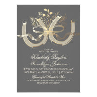 Rustic Country Horseshoes Gold and Grey Wedding Card