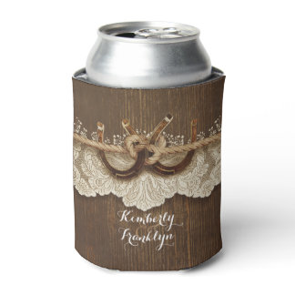 Rustic Country Horseshoes Lace Wood Brown Wedding Can Cooler