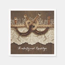 Rustic Country Horseshoes Lace Wood Wedding Paper Napkin