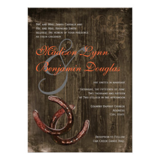 Rustic Country Horseshoes Ver2 Wedding Invitations Invitations