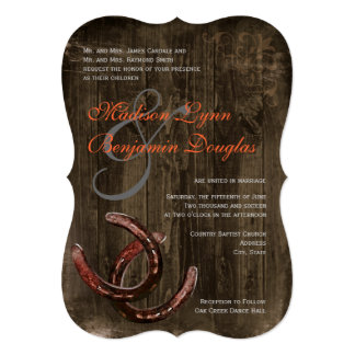 Rustic Country Horseshoes Ver2 Wedding Invitations