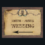 "Rustic Country Horseshoes Wedding Direction Sign<br><div class=""desc"">This beautiful and elegant design, called Rustic Country Horseshoes and Barbed Wire on Parchment Wedding, has a beautiful background made from an image of barn wood. There is an inset of old parchment with a cool frame for your text and four old fashioned corner embellishments. At the top is a...</div>"