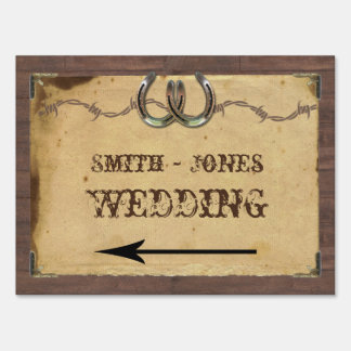 Rustic Country Horseshoes Wedding Direction Sign