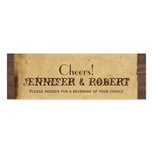 Rustic Country Horseshoes Wedding Drink Tickets Business Card Templates