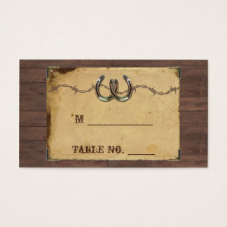 Rustic Country Horseshoes Wedding Place Cards