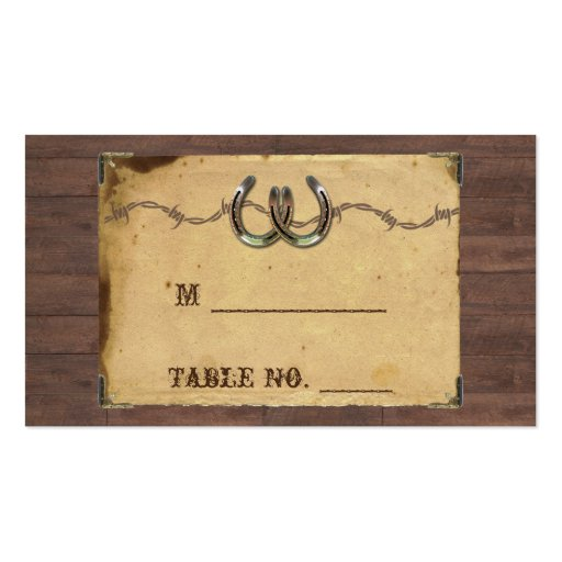 Rustic Country Horseshoes Wedding Place Cards Business Card