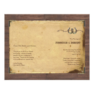 Rustic Country Horseshoes Wedding Program Full Color Flyer
