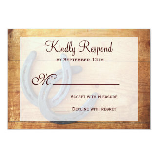"""Rustic Country Horseshoes Wedding RSVP Cards 3.5"""" X 5"""" Invitation Card"""