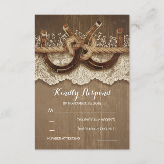 Rustic Country Horseshoes Wood Lace Wedding RSVP
