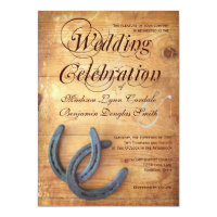 Rustic Country Horseshoes Wood Wedding Invitations