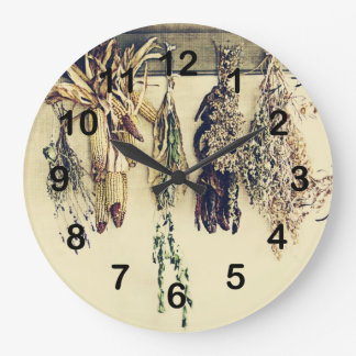 rustic country kitchen - dried herbs large clock
