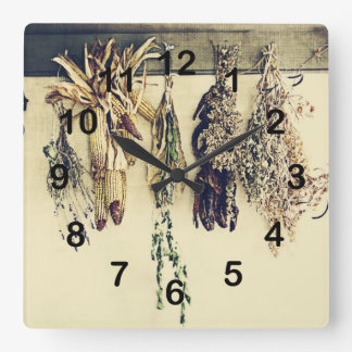 rustic country kitchen - dried herbs square wall clocks