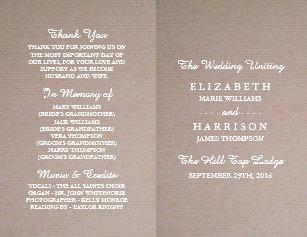 bi fold wedding programs zazzle