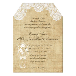 Rustic Country Lace and Burlap Wedding Invitations