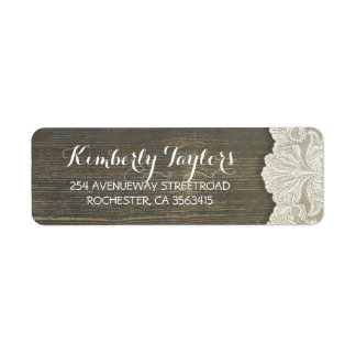 Rustic Country Lace and Wood Wedding Label