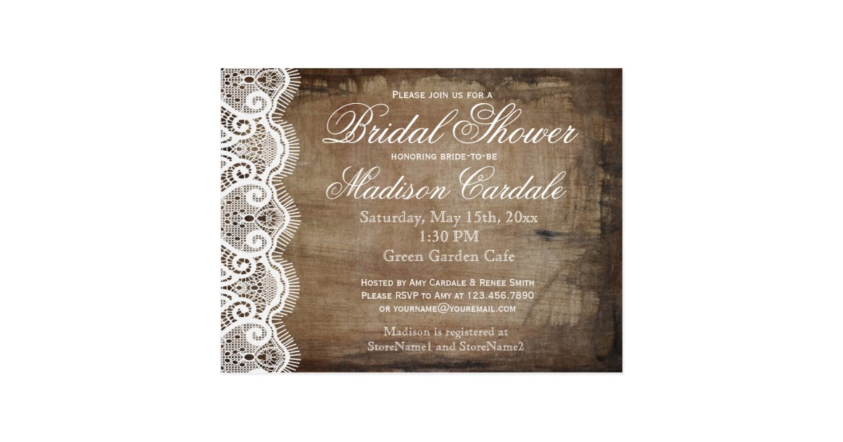 Postcard Wedding Shower Invitations: Rustic Country Lace Bridal Shower Invite Postcards