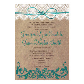 Rustic Country Lace Brown Teal Wedding Invitations