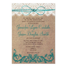 "Rustic Country Lace Brown Teal Wedding Invitations 5"" X 7"" Invitation Card"