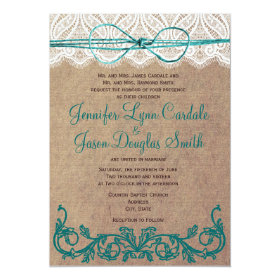 Rustic Country Lace Brown Teal Wedding Invitations 5