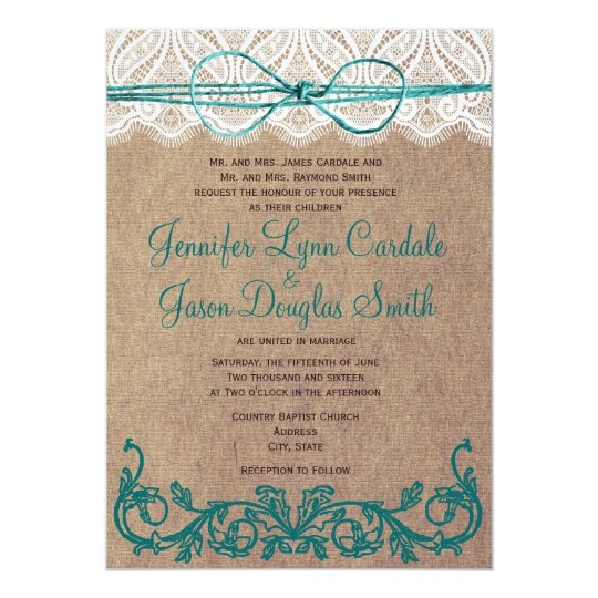 Rustic Country Lace Brown Teal Wedding Invitations | Zazzle.com