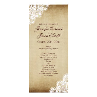 Rustic Country Lace Edge Vertical Wedding Programs Full Color Rack Card