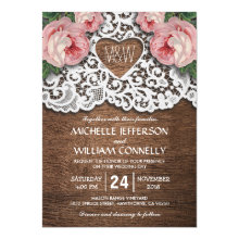 Rustic Country Lace Heart Floral Wedding Invitations