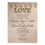 Rustic Country Lace LOVE Wedding Invitations