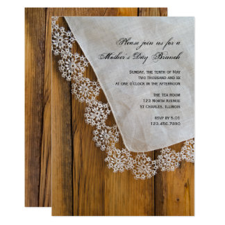 Rustic Country Lace Mother's Day Brunch Invitation